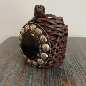 Marokkaanse gevlochten riem Boho Riem - donker bruin kleur.