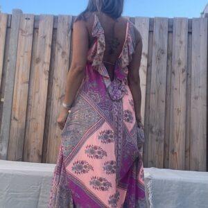 Destina Maxi jurk van Jot – one size- Rose kleur.