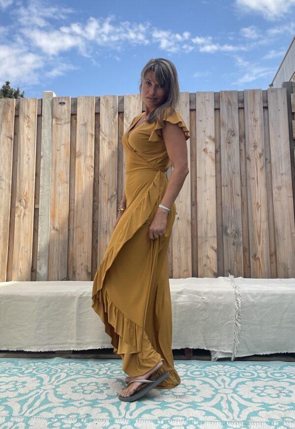 Lange omslag jurk - okra kleur.