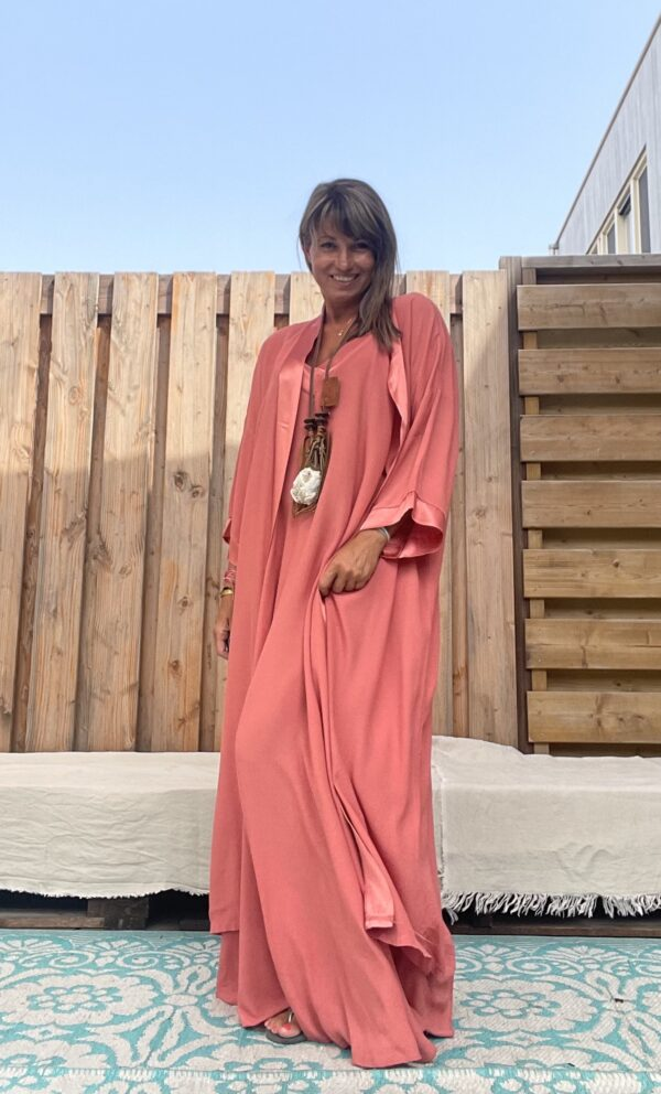 Jot Kimono en Jurk- one size - coral kleur.