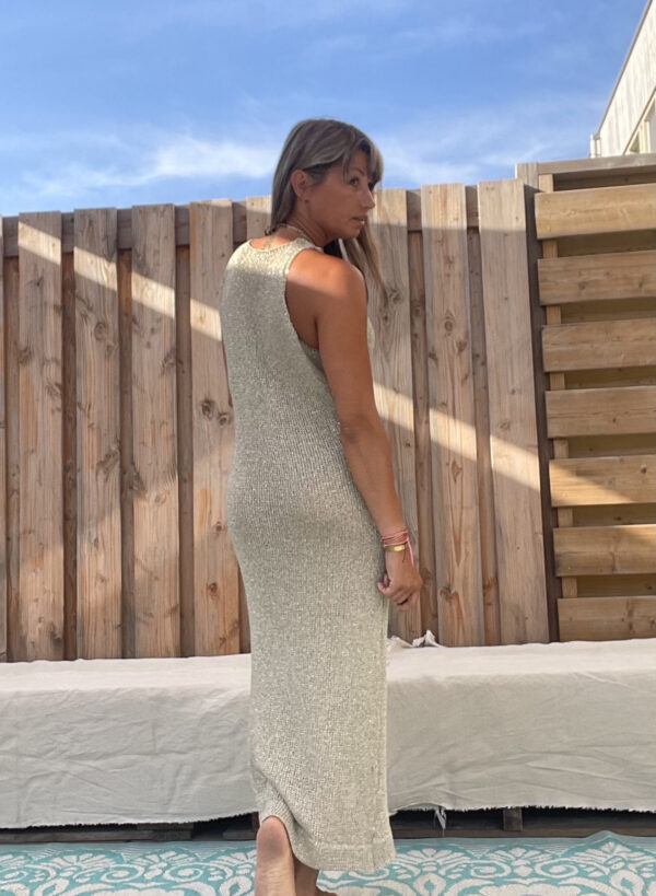 Strand gebreid jurk -one size- Goud kleur.
