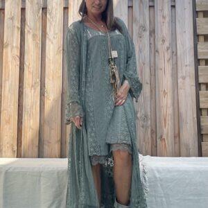 Kanten Kimono -one size- Army groen kleur.