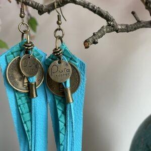 Oorbellen Handmade Pure By Audrey- blauwe tinten.
