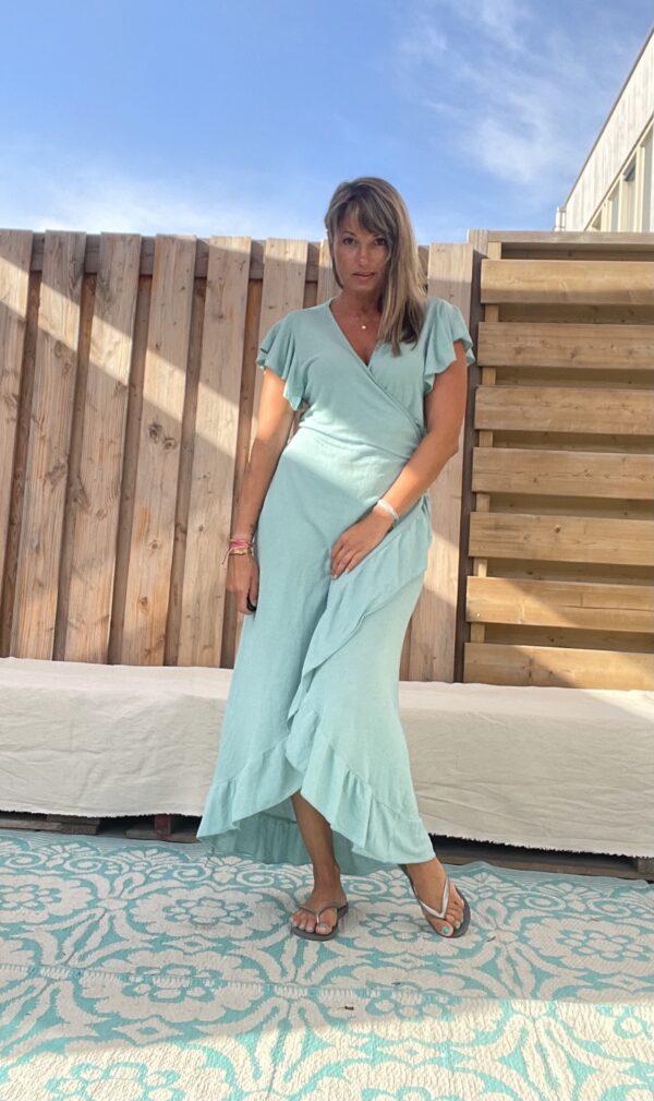 Alexa wikkel jurk one size - licht petrol kleur.