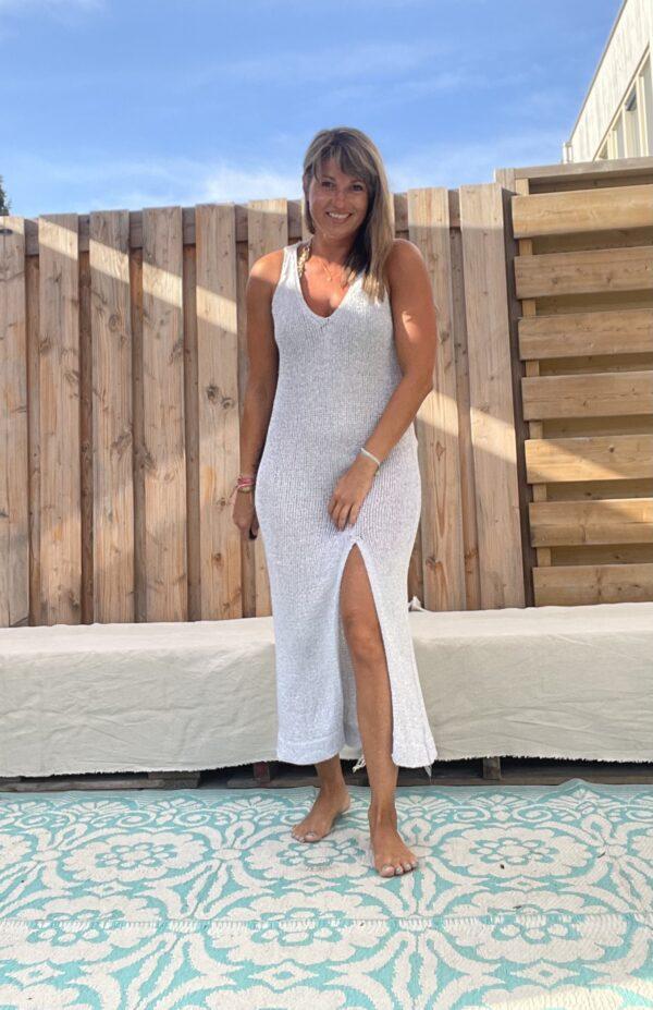 Strand gebreid jurk -one size-Zilver kleur.