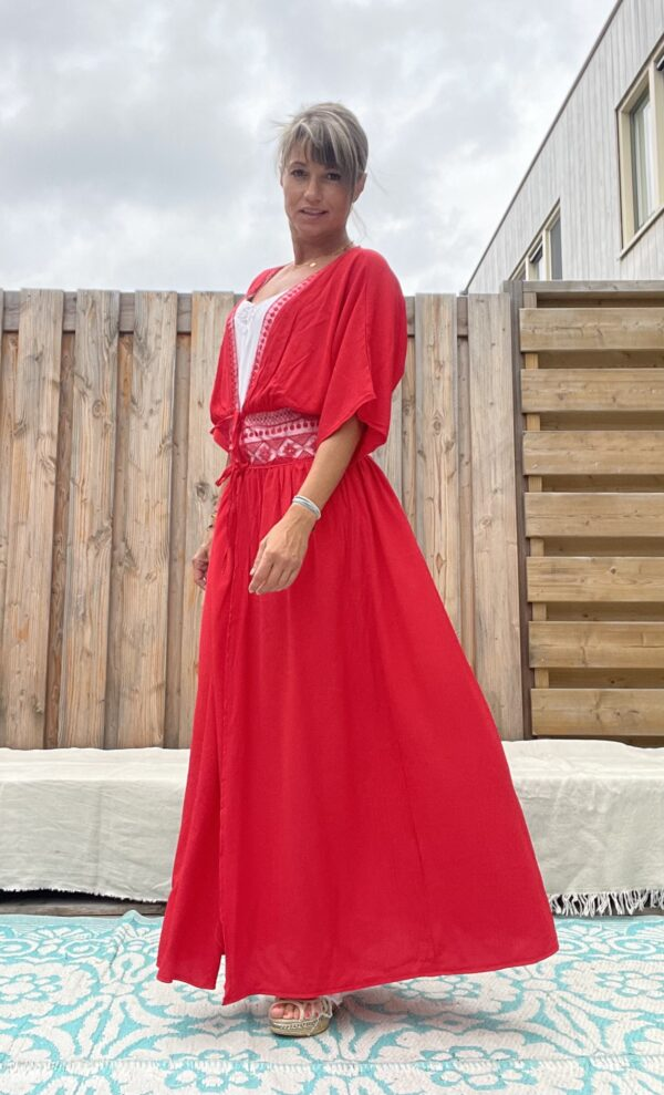 Isabelle lange kimono -one size - Rood kleur.