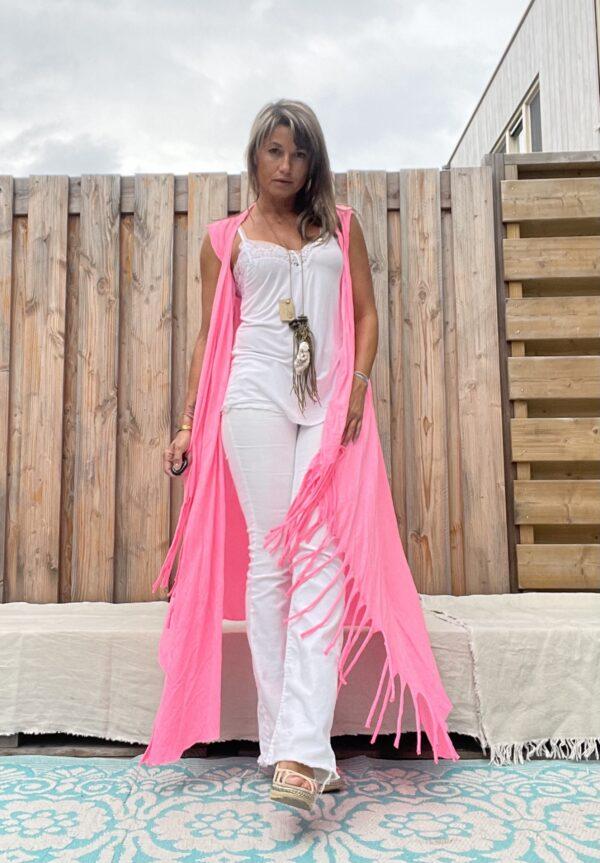 Jot lange kimono met franjes -one size - felroze.