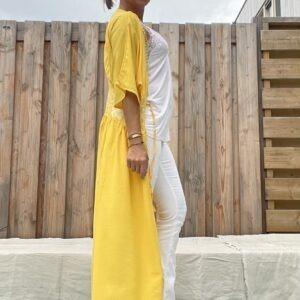 Isabelle lange kimono -one size - Geel kleur.