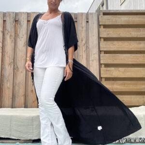 Isabelle lange kimono -one size - Zwart kleur.