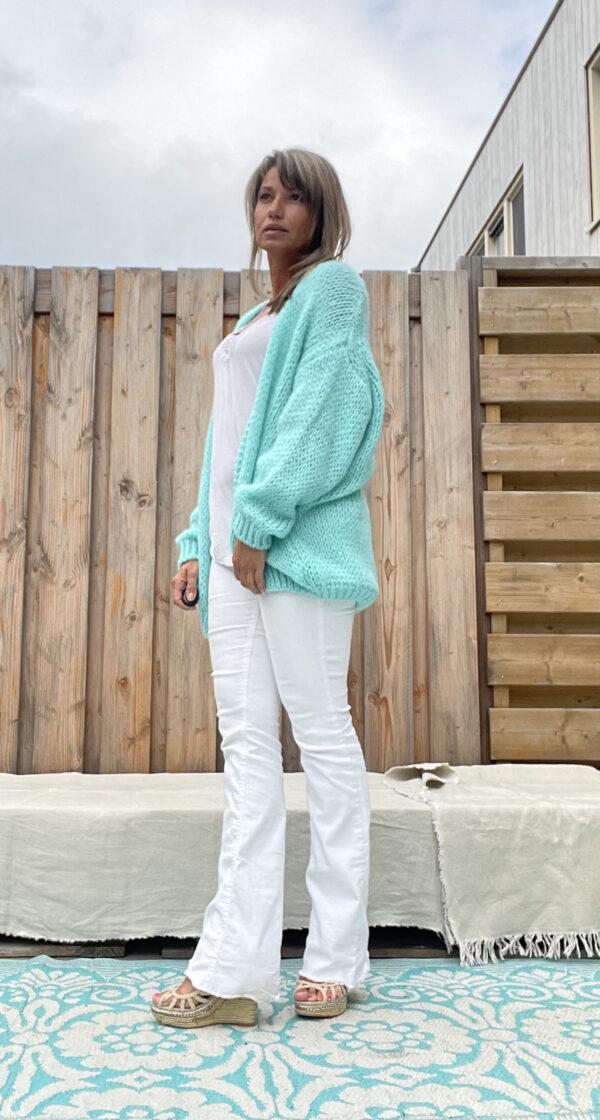 Grof Gebreid Open turquoise kleur -one size.