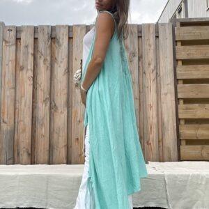 Jot lange kimono met franjes -one size - turquoise kleur.