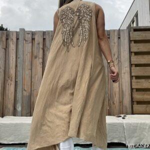 Jot lange kimono met franjes -one size - camel kleur.