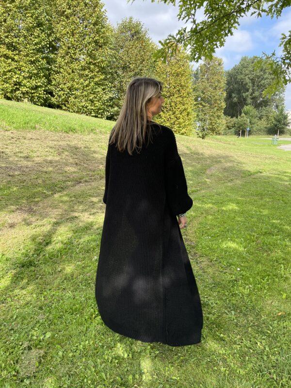 Gigi lange fijn gebreid vest een maat zwart kleur.
