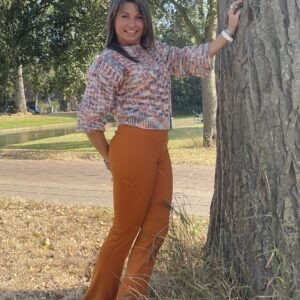 Retro broek met wijde pijp - Camel kleur.